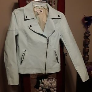 Forever 21 ice blue pleather moto jacket
